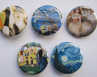 Magnets set of 5 button  mini 1 inch or 1.25 inch magnets you choose the size