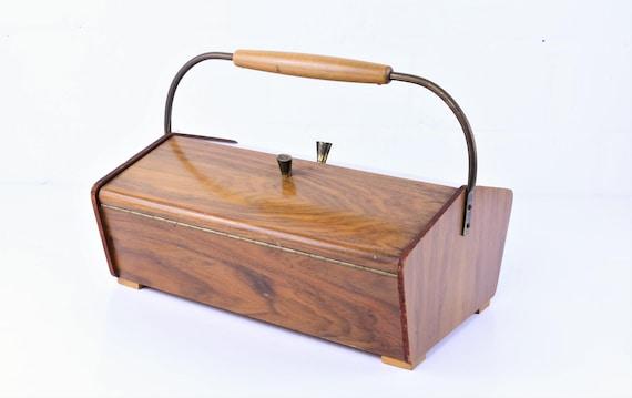 Vintage hood Midcentury Modern mending basket wooden Utensilo