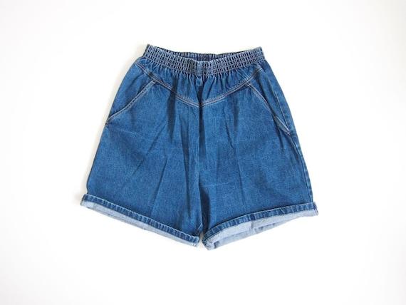 Blue Jean Shorts 80s Elastic Waist Denim Shorts 1980s Cotton MOM Shorts with Pockets Vintage Beach Shorts Women Small Medium