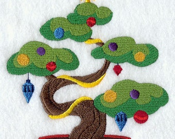 Asian Bonsai Christmas Tree Embroidered Flour Sack Hand/Dish Towel