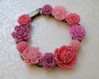 Pink Resin Flower Bracelet