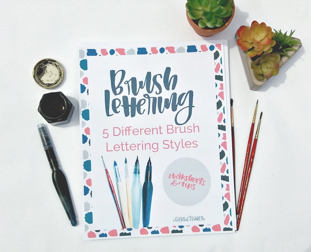 Brush Lettering Worksheets   Different Styles  Printable  Modern