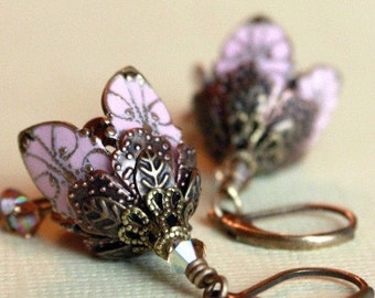 Flower earrings, dangle, pink, gift for her, gift ideas, romantic, love, gift for girlfriend
