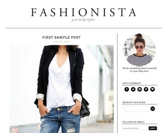 Blogger Template Premade Blog Theme Design Fashionista - Instant Digital Download, Minimalist, Black and White