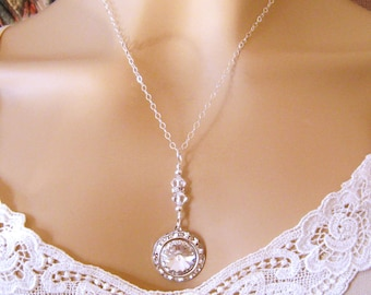 Bridal Necklace, Crystal Bridal Necklace Swarovski Bridal Jewelry Crystal Wedding Necklace Bridal Y Necklace Sterling Silver Wedding Jewelry