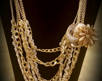 After Life Accessories handmade GP chain and Vintage pearl layered Necklace