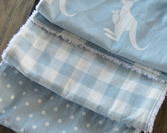 NEW set of 3 Handmade Baby Boy Burp Cloths Premier Prints Kangaroo Twill Weathered Blue  White Plaid Polka Dots Classic Shower Gift Chenille