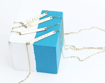 Skinny 14K Gold Filled Bar Necklace, Reversible Personalised Necklace, Name Necklace, Personalised Gift, Gift For Her