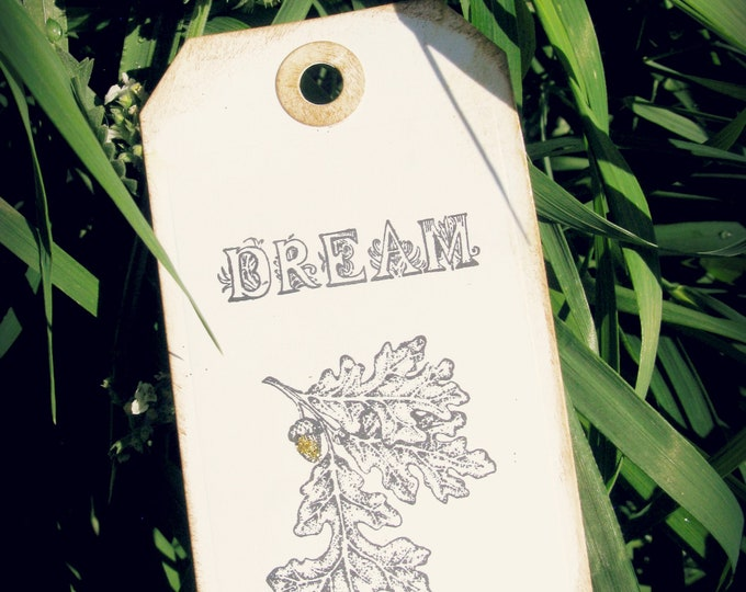 Acorn Dreams Gift Tags, Woodland  Wedding Tags, Acorn Stamp, Aged, Gold Glitter, Vintage Romantic, Gifts, 4 Large Tags