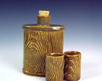 Pottery Flask, Lumberjack MorningWood Flask, Lumbersexual, Faux Bois, Handmade, beard accessories, mens goods, gift for him