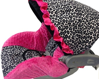 Gray Cheetah Infant Car Seat Cover Black Gray Hot Pink