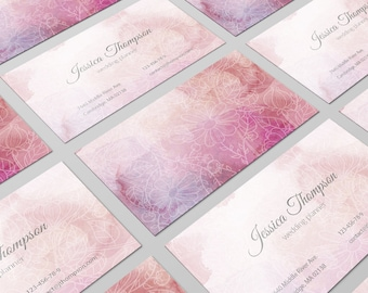 Modern Business Card, Pink Business Card, Business Card Design, Watercolor Card, Calling Card, Personal Card, Card Template, DIY Card