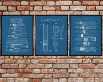 Cigar blueprint etsy cigar art set of three discounted cigar posters bar art cigar blueprints malvernweather Images