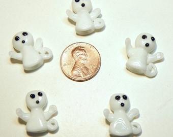 Five (5) Petite Lampwork Ghost Beads -- Lot UU