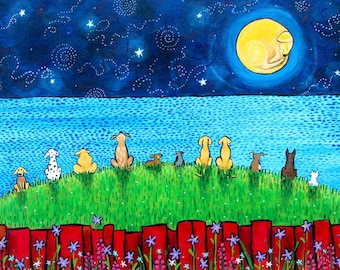 Doggy Moon, puppy, dog, full moon, childrens art Print Shelagh Duffett