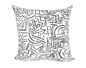 READY TO SHIP - 20x20 Lascaux Black & White designer pillow cover - Alan Campbell for Quadrille