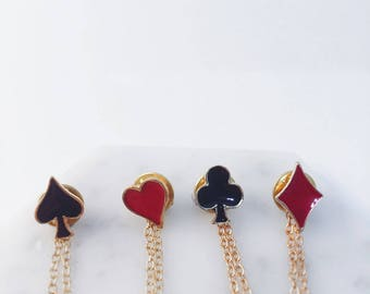 Playing cards collar pins- clubs, spades, hearts, diamonds; hearts collar pins; black red pin; alice in wonderland pin