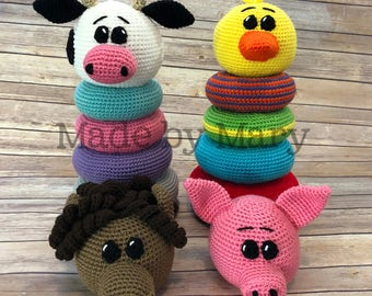PDF PATTERN: Ring Stacker Farm Animals **Crochet Pattern Only, Not Actual Doll!** Crochet Toy