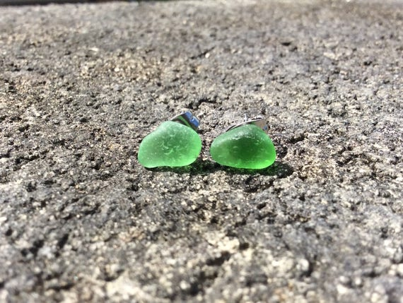 RARE Surf Tumbled, Rich Key Lime Green Seaglass Stud Earrings