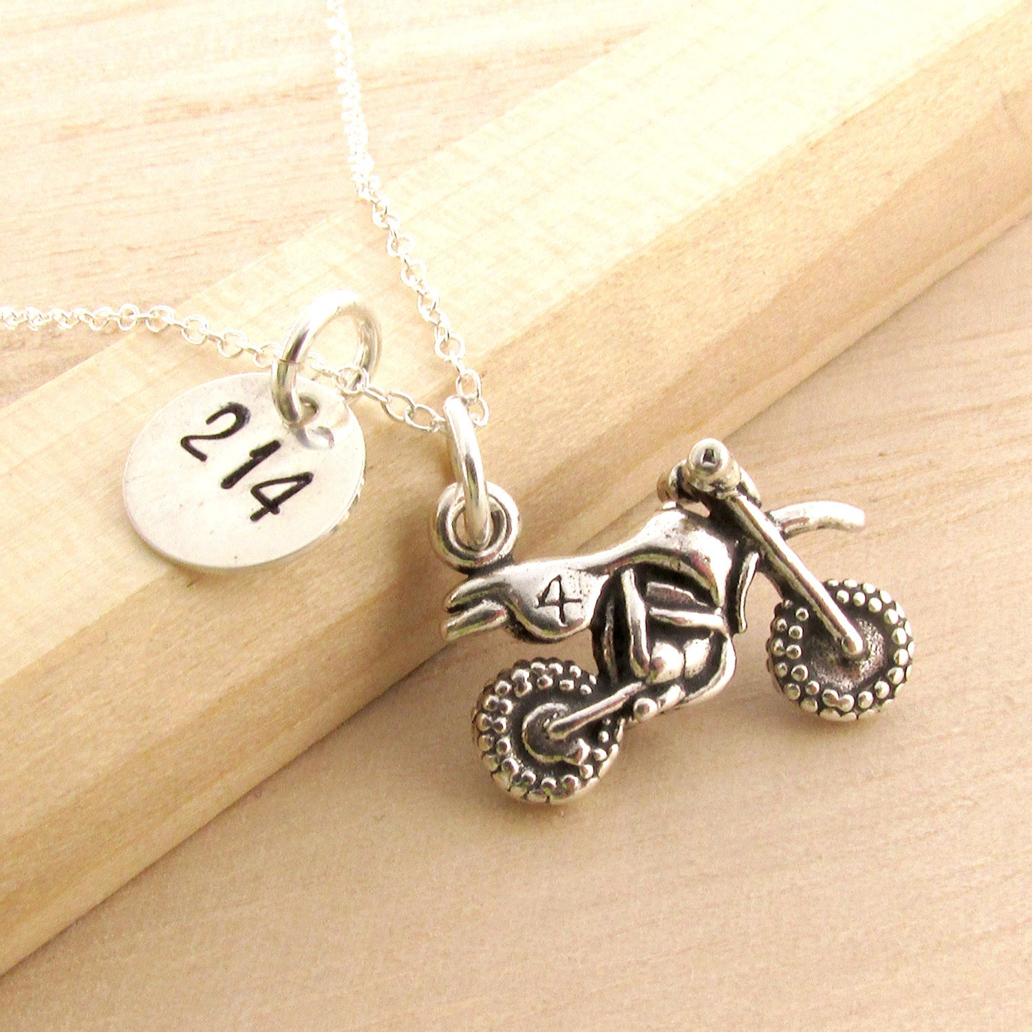 Motocross Necklace Personalized MX Jewelry Sterling Silver
