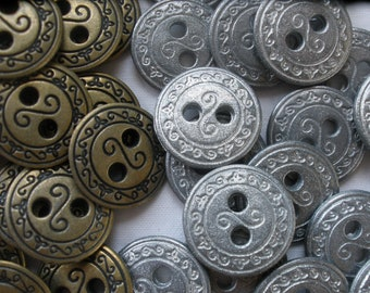 15MM pewter or Bronze scroll pattern reversible Shirt Buttons Metal sew on 23L 12 each 2 hole large 2mm holes wrap bracelet clasp