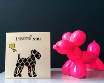 "Liberty London Lakeland Terrier  ""I Woof You"" silhouette handmade greeting card"