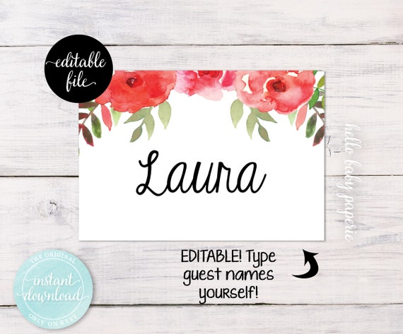 Baby Shower Name Tags, Bridal Shower Name Tags, Guest Name Tags, Flower Name  Tags, Guest Name Badges, Party Name Tags, Adhesive Name Tags From ...