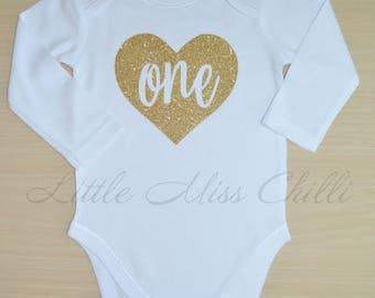 Custom Print Colour Heart One 1st Birthday Onesie