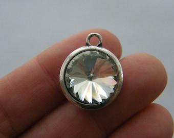 2 April birthstone charms antique silver tone