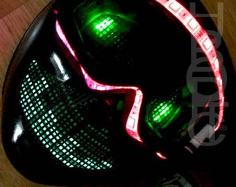 Snow Goggle BOT - Sound Reactive Goggle Robot Mask LED Mask Light Up Mask for Scifi Robot Costume Glow Cosplay Head Edm Rave Mask