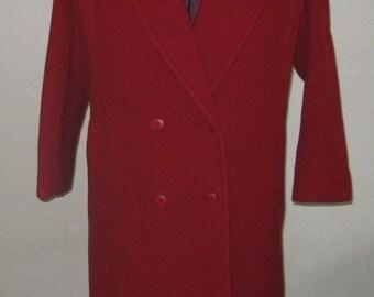 80s Red Wool Coat  / Minimalist Coat / Size 5/6  / Structured Coat / Wool Coat / Ladies Wool Coat / Forecaster of Boston