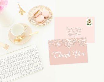 Printable Thank You Card, Instant Download Printable PDF, Pink and White Lace, Girl Shower Thank You, Pink Thank Yous, Birthday, Wedding