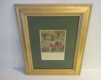 Tabriz School Print Art In Gilt Wood Frame Historic Event Described In Details