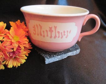 Mother tea cup, pink and white, Mothers Day Gift, Mother Coffee Cup