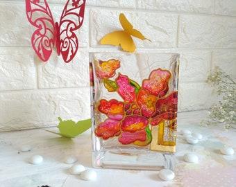 Hand painted glass vase, Flowers vase, Butterfly vase, Wedding decor,  Hand painted vase, Flower vase, Modern vase, Tall vase, Romantic