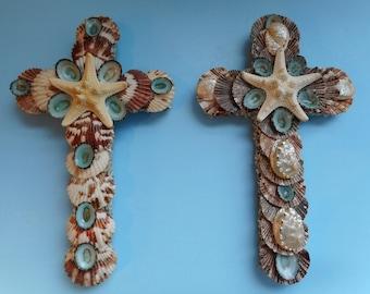 Starfish Sea Shell Wall Cross-Beach Style Cross-Shell Crucifix-Shell Art-Coastal Cross-Wood Cross