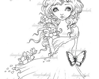 Hello Magnolia - Digital Stamp Instant Download / Butterfly Flower Girl Fantasy Art by Ching-Chou Kuik