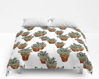Comforter, Succulents in Terra-cotta Pots, full/queen and King sizes