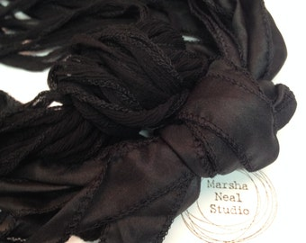 Hand Dyed Silk Ribbon - Silky Ribbon - Fairy Ribbon - Jewelry Supplies - Wrap Bracelet - Craft Supplies - All Black Color Palette