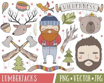 Wilderness Lumberjack Clipart Set, Lumberjack Illustrations, Lumberjack Clip Art, Father's Day Clipart Images, Camping Clipart, Wilderness