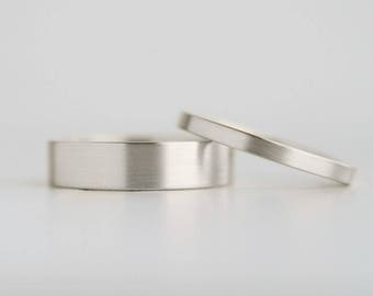 Brushed Finish White Gold Wedding Band Set   2mm and 5mm x 1.3mm gold rings   Rustic matte white gold wedding bands 10k 14k 18k white gold