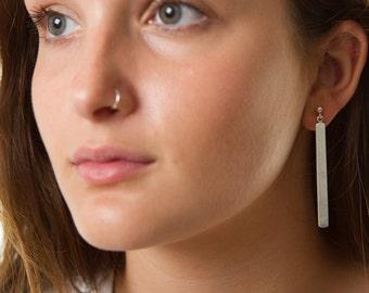 Long Silver Dangling Earrings | Minimalist silver earrings | Geometric earrings | Rectangle earrings | Simple earrings | Silver drop earring