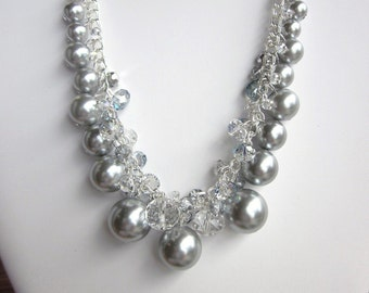 Pearl Necklace - Stunning Silver Gray and Crystal Necklace - Chunky, Choker, Bib, Necklace, Wedding, Bridal, Bridesmaid