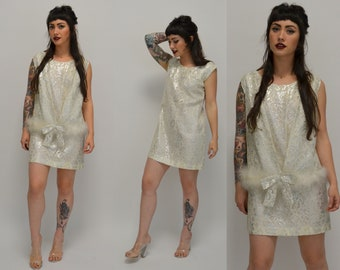 Silver | Small | 1960s Mod Mini Dress Vintage Vest and Dress 60s Fluffy White Feather Short Shift