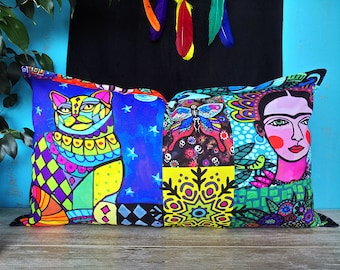 Fast shipping/Frida and cat - colorful print pillow cover/Housewarming gift/Rainbow colors pillow designs