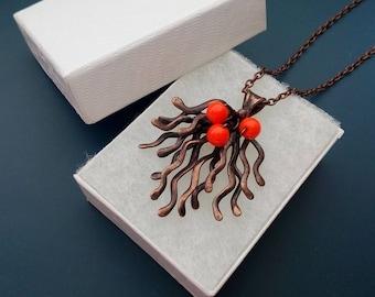 Wire jewelry, copper wire necklace, contemporary jewelry, orange beads jewelry, artistic pendant, statement necklace