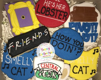 Friends TV Show; Friends TV Show Cookies; Monica Peephole Frame; Smelly Cat  - 1 DOZEN (12 Cookies)