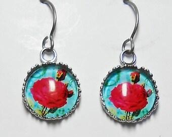Mexican Rose Bouquet Earrings Titanium Hypoallergenic Aqua
