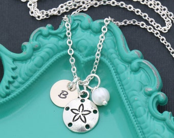 Tiny Sand Dollar Necklace • Personalized Initial Necklace Beach Jewelry • Nautical Necklace Ocean Beach Jewelry Bridesmaid Gift