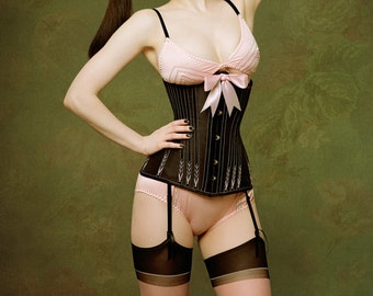 READY TO WEAR- size 18 to 26 inch Mid length hand flossed underbust corset